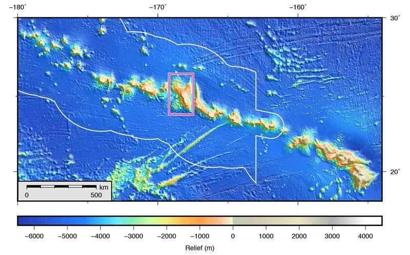 Batimetría del archipiélago de Hawai