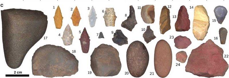 Colección de herramientas de la cazadora del yacimiento de Wilamaya Patjxa