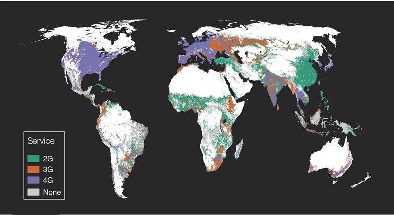 Distribución de la cobertura de red a través de las áreas de cultivo mundiales