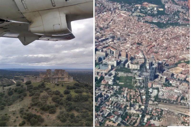 Imágenes tomadas desde el avión de muestreo. A la izquierda, vuelo sobre Puebla de Almenara (Cuenca); a la derecha, imagen aérea del centro de Madrid.