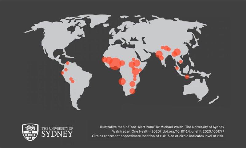Mapa de riesgo elaborado por el equipo de investigación en el que se ve la zona de riesgo así como el nivel de riesgo representado por el tamaño del círculo.