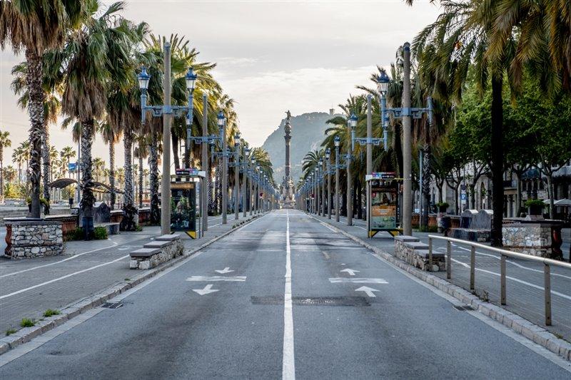 Las calles de Barcelona vacías durante el confinamiento.