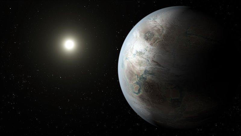 Recreación del planeta Kepler-452b, el primer exoplaneta del tamaño parecido al de la Tierra hallado en la zona habitable de una estrella similar al Sol.