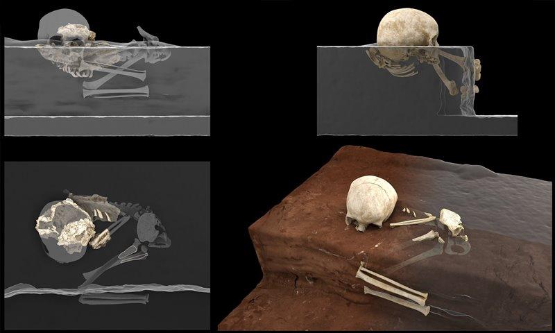 Comparativa entre la posición de los restos hallados y su postura original